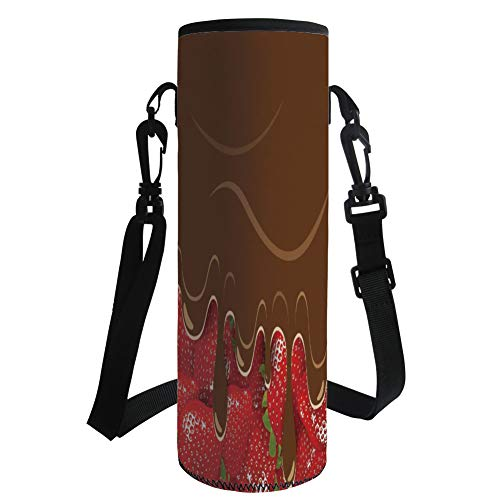 iPrint Water Bottle Sleeve Neoprene Bottle Cover,Kitchen Art Wall Decor,Strawberries Melted Chocolate Confectionery Fruit Sweet Delicacies,Brown Red,Fit for Most of Water Bottles ()