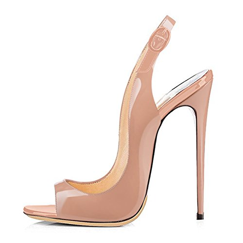 - onlymaker Women Peep Toe Heeled Sandals Slingback High Heel Stiletto Pumps for Party Dress Nude 9 M US