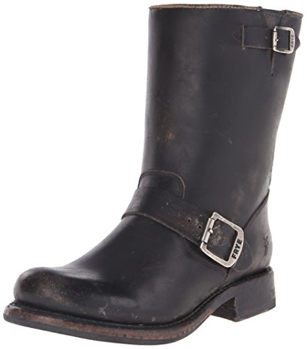 FRYE Women's Jenna Engineer Boot, Black -Brush Off Leather, 7 M US (Engineer Frye)