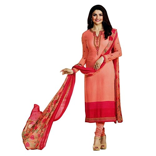 Designer Italian Crepe Embroidery Readymade Salwar Kameez Indian – 0X Plus, Peach