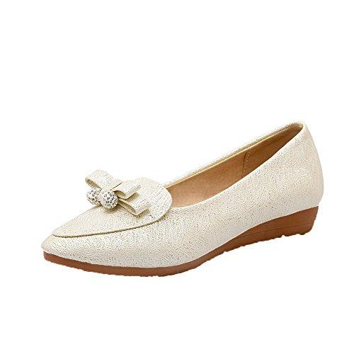 Amoonyfashion Donna Scarpe Solide Tacco Basso Tacco Alto Pompe-scarpe Beige