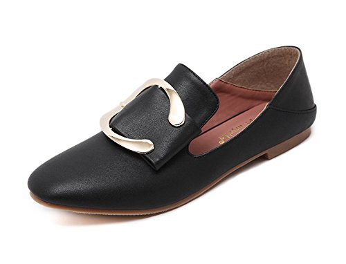Flats Shoes Womens Black Buckle Toe 1TO9 Closure No Urethane Square 80PA4q