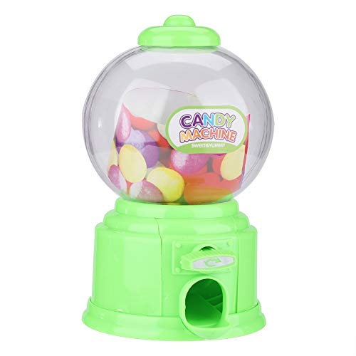 Fdit Portable Children Candy Machine Plastic Mini Gumballs Dispenser Kids Kindergarten Gift(Green)