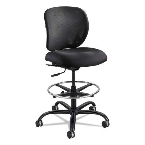 Vue Heavy-Duty Extended Height Stool, Fabric Seat, Nylon Mesh Back, Black ()