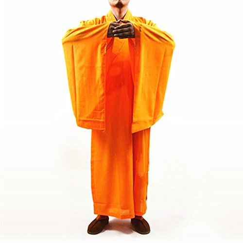 k Kung fu Robe Meditation Long Gown Suit yellow L ()