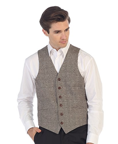 Gioberti Men's 6 Button Slim Fit Formal Herringbone Tweed Vest, Checkered Brown, - Herringbone Wool Button Two