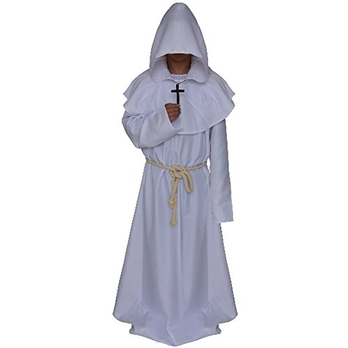 Priest Costume White (LETSQK Men's Friar Medieval Hooded Monk Priest Robe Tunic Halloween Costume White L)