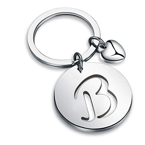 HOLLP Silver Initial Disc Charm Keychain 26 Initial Letter Alphabet Key Ring A-Z Initial English Charm Stainless Steel Initial Keychain for Women (B)