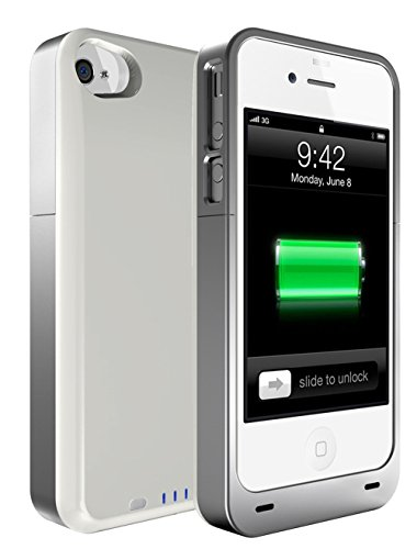 uNu Power DX PLUS External Protective Battery Case for iPhone 4S and 4 2400mAh - MFI Apple Certified (White/Sliver, Fits All Models iPhone 4S/4)