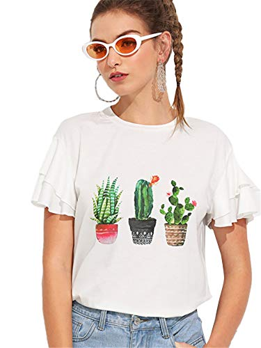 SweatyRocks Women's Ruffles Short Sleeve Cactus Print Round Neck T-Shirt Tops White L