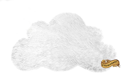 Baby Nursery Area Rug / Cloud Shaped Faux Fur Accent Throw / Sheepskin Shag (3'x5', Snow White) Cloud White Area Rug