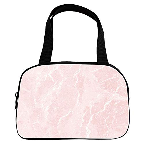(iPrint Vogue Small Handbag Pink,Marble,Murky Gemstone Scratches Nature Mineral Crystal Style Beauty Elegance Print Decorative,Light Pink White,for Girls,Diversified Design.6.3