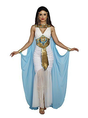 Sexy Cleopatra Dress (Dreamgirl Women's Queen of De Nile, Blue/White, M)