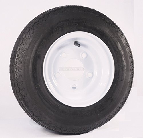 eCustomRim Trailer Tire On Rim 4.80-8 480-8 4.80 X 8 8 in. LRB 5 Lug Hole Bolt White Wheel