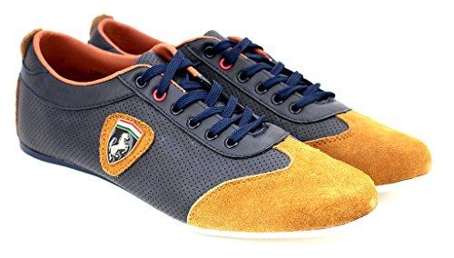 Zapatillas Informales Para Hombre De Piel Con Cordones Deporte Inteligentes zapatos núm. RU Azul Marino