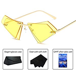 GAMT Vintage Double Lens Sunglasses for Women Men Polygon Rimless Sun Glasses Gold frame yellow