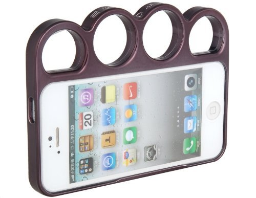 Brightdeal Metallic Protective Frame with Finger Ring Handle for iPhone 5 5S (Black)
