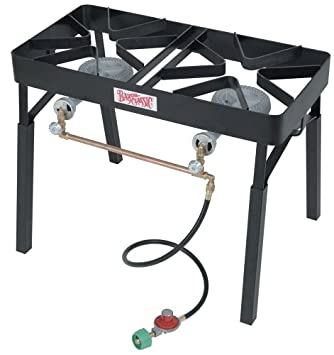Bayou Classic DB325 Double Burner Outdoor Patio Stove With Slide On  Extension Legs