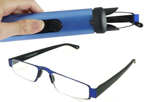 (I-Mag Executive Slim Metal Reading Glasses with Slide Open Hard Case (2.50, Blue))