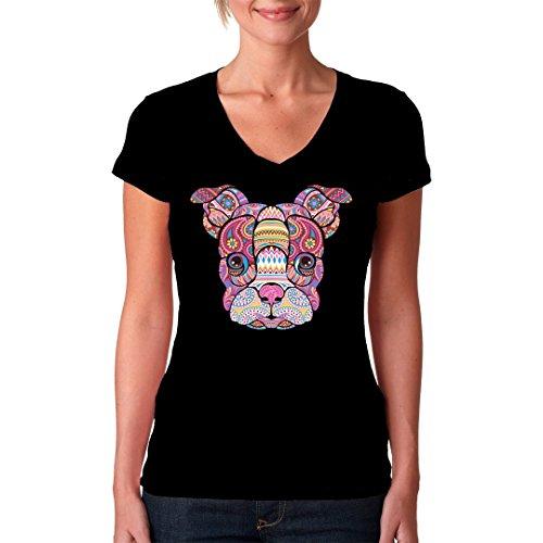 Fun Girlie V-Neck Shirt - Mosaik Hund by Im-Shirt Schwarz