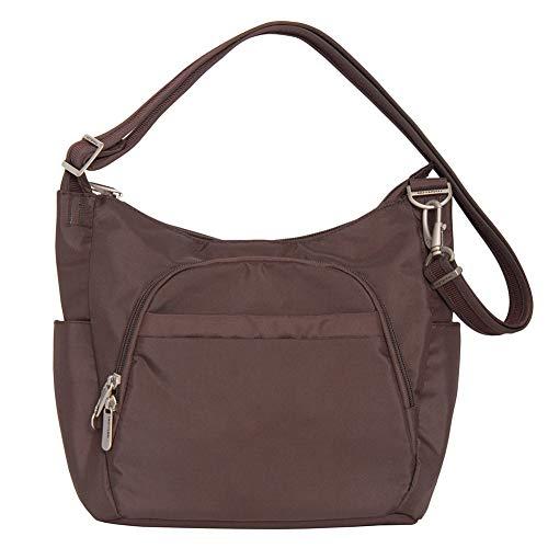 Travelon Anti-Theft Classic Crossbody Bucket Bag (One Size, CHOCOLATE W/DARK SAND LINING) ()