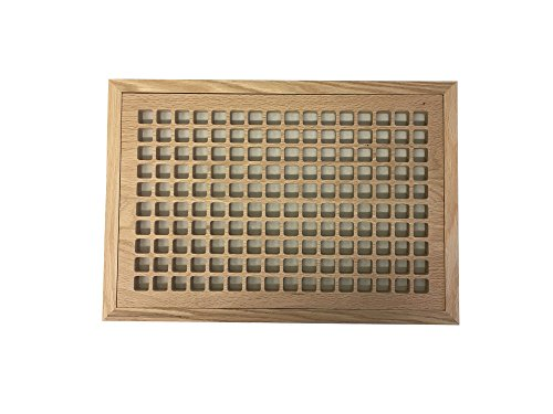 10 Inch x 16 Inch Red Oak Hardwood Vent Floor Register Flush Mount with Frame, Eggcrate Style, (Air Vent Wood Grill)