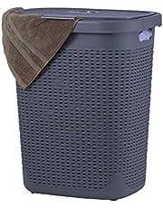 Wicker Laundry Hamper With Lid 50 Liter - Grey Laundry Basket 1.40 Bushel Durable Bin With Cutout Handles - Easy Storage Dirty Cloths in Washroom Bathroom, Or Bedroom. By Superio