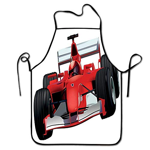 (Cars Apron bib Formula Race Car with The Driver Automobile Motorized Sports Theme Strong Engine Apron Grandma Red Black White)