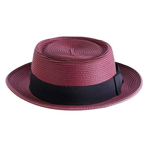 Pork Pie Straw Hat Men's Fedora Sun Hats Summer Porkpie Beach Flat Boater Cap with Upturn Brim (L:7 1/4-7 3/8, A4-Jujube Red)