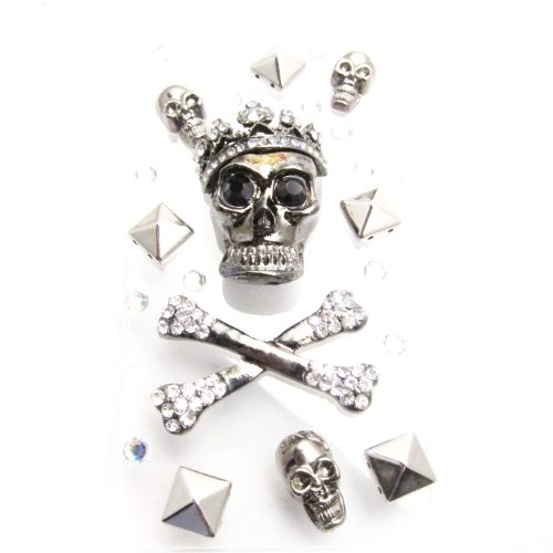 DIY 3D Bling Cell Phone Case Deco Kit : Silver Crossed Bone, Skull and Studs Cabochons ()