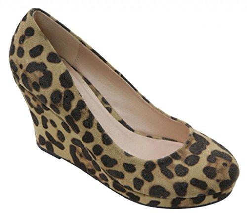 Gemini Soft-06 Womens comfort rounded toe slip on boat glitter platform wedge heels Leopard oPrzob6k4r