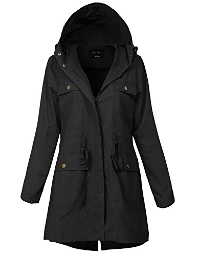 Plus Size Warm Waist String Essential Hooded Utility Jackets, 145-Black, Size 1X-Large ()