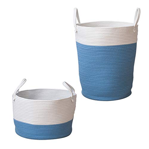 B Blesiya 2pcs Country Style Cotton Weaving Cloth Storage Basket Handicraft Weaving Arts Kid's Toy Bags Desktop Cosmetic Storage Organizer Blue by B Blesiya