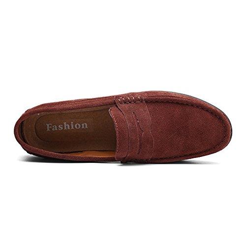 Que Cuero Holgazanes Red de Hombres NBWE de Ocasionales Color conducen los de los Múltiple Zapatos Planos Ppwgq
