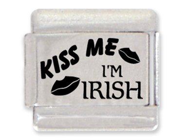 Kiss Me, I'm Irish Laser Italian Charm Bracelet Link