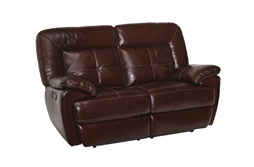 Common Home CH0015 Edwin Reclining Leather Loveseat, Mahogany ()