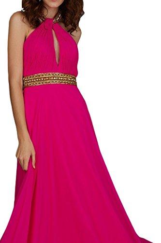 ivyd ressing Mujer a de línea Neck Holder con piedras gasa vestido de fiesta Prom vestido para vestido de noche fucsia