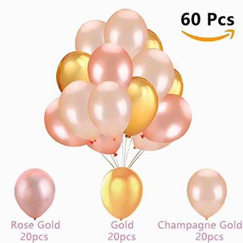 60Pcs Gold & Rose Gold & Champagne Gold Color Latex Party Balloons for Wedding Hawaii Graduation Birthday Party Decoration Supplies