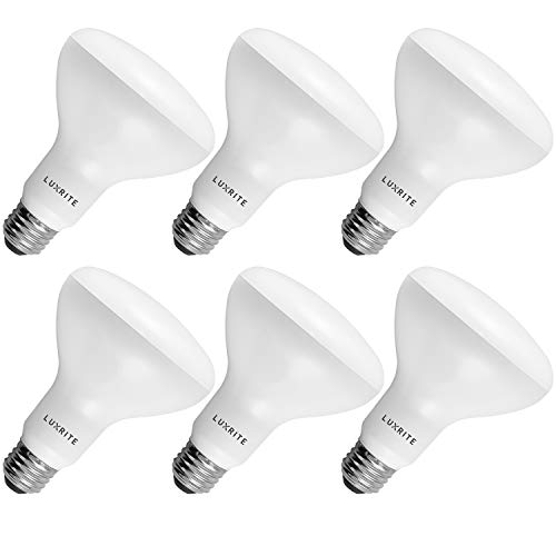 6-Pack BR30 LED Bulb, Luxrite, 65W Equivalent, 3000K Soft White, Dimmable, 650 Lumens, LED Flood Light Bulbs, 9W, Energy Star, E26 Medium Base, Damp Rated, Indoor/Outdoor - Living Room and Kitchen