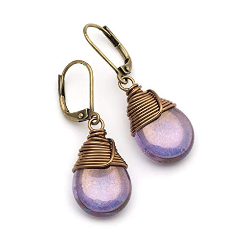 - Lustrous purple Czech glass wire-wrapped drop bronze lever-back earrings
