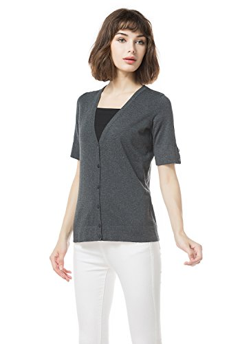 Knitbest Women's Ladies V Neck Short Sleeve Open Front Loose Cardigans (Small, Dark Grey)
