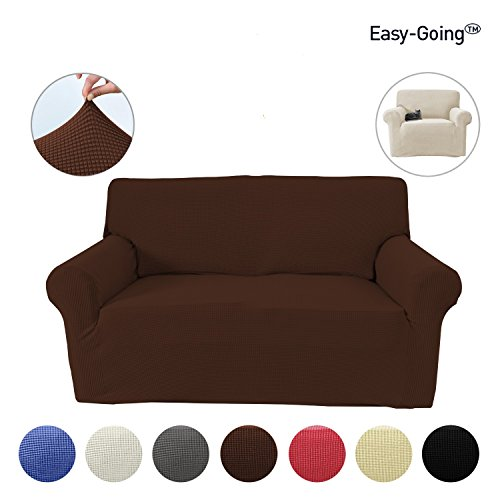 Stretch Slipcovers, Sofa Covers, Furniture Protector with Elastic Bottom, Anti-Slip Foam, Couch, Pets Shield, Polyester Spandex Jacquard Fabric Small Checks 1 Piece by Easy-Going (Loveseat, Coffee) - Furniture Slipcover Loveseat