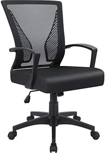 Furmax Office Mid Back Swivel Lumbar Support Desk, Computer Ergonomic Mesh Chair with Armrest Black
