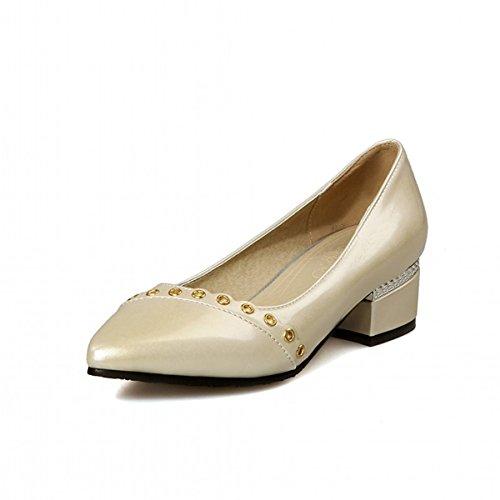 Chaussures Pointu Automne Talons Printemps Blanc Argent les Beige Tenues de Pour Rose DIMAOL Talon Bout Rouge Bas Beige Confort Femmes Nouveauté Similicuir dFd7YB