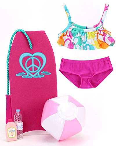 Sophia's Doll Sized Beach Accessory Set with Print Cropped Bikini Top with Solid Bottoms, Hot Pink Body Board, Beach Ball, Water and Suntan Lotion | 5 Piece Beach Set for 18 Inch Dolls ()