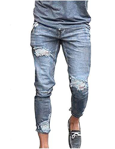 Skinny Stretch Con Slim Strappati Jeans Grau Uomo E Casual Hiphop Denim Da Di Pantaloni Fit Tasche 1PfwqzY