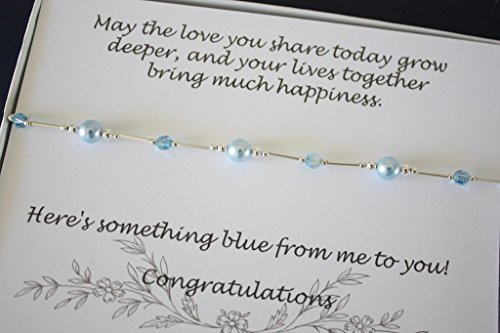 LARGE Something Blue Bride Gift Anklet Sterling Silver and Swarovski Blue Pearl Wedding New