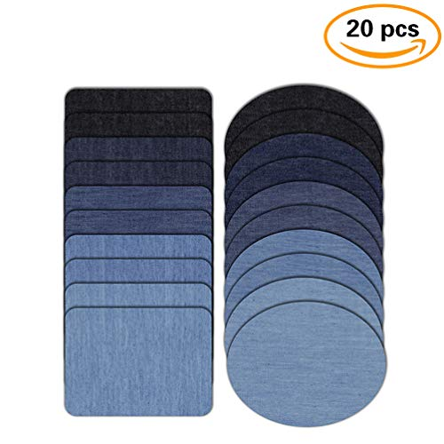 YOUR GALLERY Repair Iron on Denim Patch for Clothing Jeans Jacket Pants,20 Packs,5 Colors (2 Sizes, 2 Shapes)