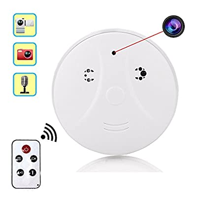 Cainda Hidden Security Detector Camera with Motion Detection and Loop Recording, Secret Spy Camera Indoor with Wireless Remote Control, Best Surveillance for Home Safety (White)