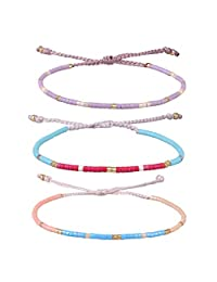 KELITCH Crystal Shell Seed Beads Pendant Tassel Friendship Bracelets Hand Woven Fashion Jewelry Bangles 3pcs